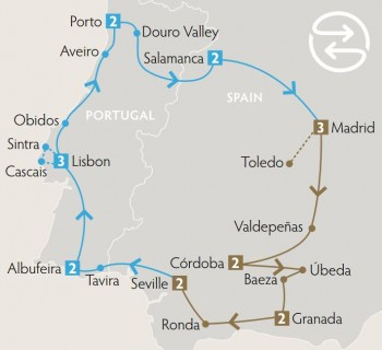<p>Discover southern Europe's diverse Iberian Peninsula and Spain &amp; Portugal's rich culture, warm hospitality and festive spirit. This experience is designed over two separate 9-night journeys that maybe taken separately or back-to-back for a complete journey. Together, you will experience: the vibrancy of Madrid, Lisbon and Seville; 'must see' towns of Toledo, Baeva and Sintra; tastings in Spain's prestigious wine and olive oil regions; Portugal's beautiful coastline; 10 UNESCO World Heritage listed sites; and of course flamenco, paella, Fado and tapas!</p> <p>*This tour runs in reverse order on select departure dates</p>
