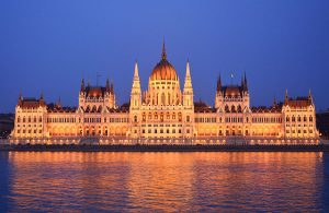 Budapest's Parliament house lit up at night