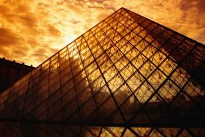 France, Paris, Louvre Museum pyramid