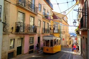 Old wooden trams of Lisbon
