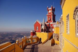 The bright and colourful Pena Palace of Sintra, Portugal
