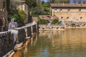Thermal baths with sculptures at BagnoVignoni