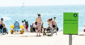 The wheelchair assistance area at a beach in Barcelona Spain